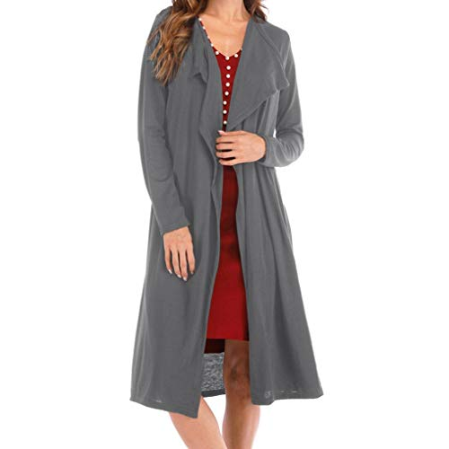 Long Cardigan Sweaters For Women, Lightweight Women's Loose Turn-Down Collar Cardigan Fashion Solid Long Sleeve Coat (Free Size, Gray) by Goodtrade8 Clearance