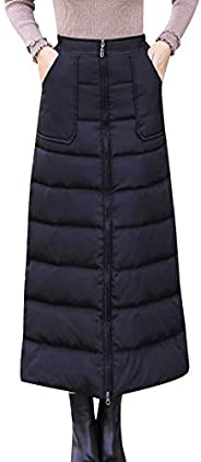 Fashion Winter Down Cotton Skirt High Waist Zip up Long Warm Skirt Thickening Women A-line Skirts UOTO