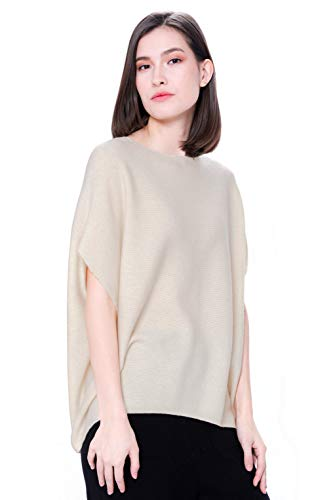 Goyo Cashmere Women's 100% Pure Cashmere Boat Neck Sweater – Short Sleeve Dropped Shoulder Pullover (Cream, L)