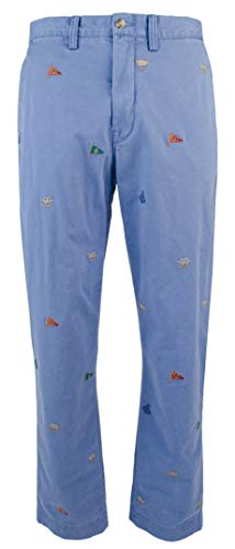 - Polo Ralph Lauren Men's Nautical Embroidered Chino Pants-BLU-40WX30L Blue