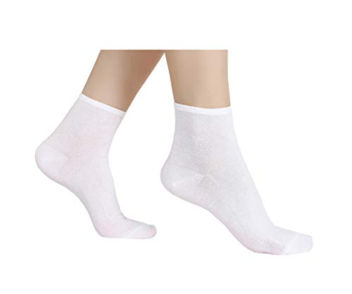 6 Pair Women's Ultra Thin Cotton Summer Ankle Crew Socks-whiteM