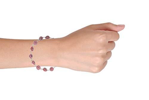 Bling Jewelry 925 Sterling Silver Pink Evil Eye Bracelet Glass 7in IY-4103-7