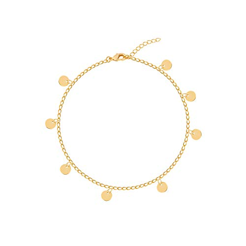S.J JEWELRY Fremttly Friendship Gift Handmade Dainty Anklet 14K Gold Filled/Silver Star Lucky Beads Lace Chain Adjustable Foot Chain for Womens-Ank-1-Round