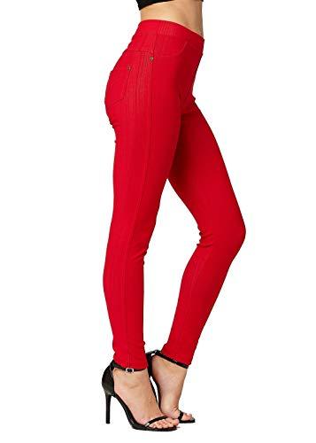 - Premium Jeggings - Denim Leggings - Cotton Stretch Blend - Full Length Red - Small/Medium