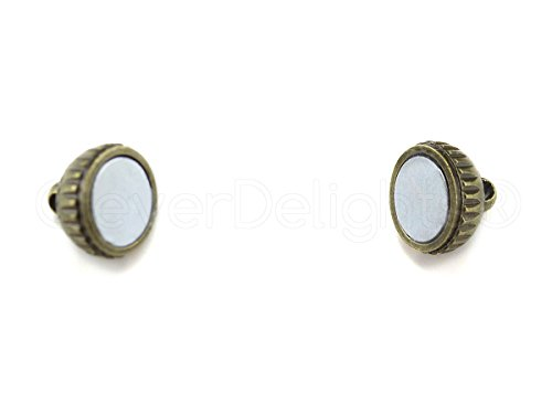 (CleverDelights 8 Sets Magnetic Jewelry Clasps - Deco Drum Style - Antique Bronze Color)