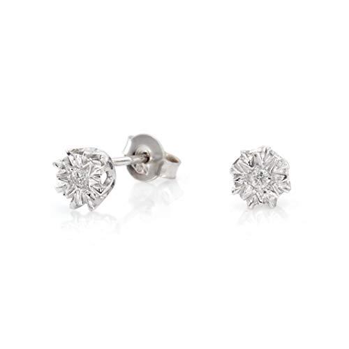 White 9k gold illusion set diamond stud earrings