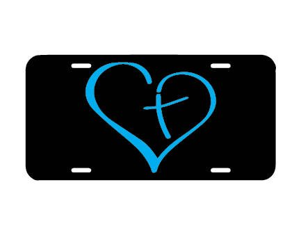 Mentalsign Cross license plate, front car license plate, christian vanity plate tag, car tag, cute girly car accessory, religious car tag, cross heart