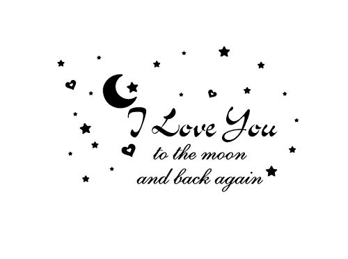 I Love You to The Moon and Back Again Wall Photo Wall Decal Removable Wall Sticker for Home ()