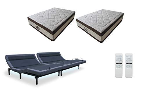 Leggett Platt New Adjustable Bed The Williamsburg Plus Massage Head Tilt Underbed Light Dual Usb Port With 15 5 Atlantisbreeze Gel Memory Foam Bed By Dynastymattress Split Calking W Setup