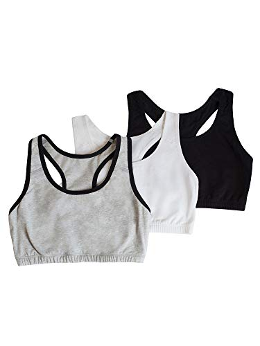 Fruit of the Loom Big Girl's Cotton Built-up Sport 3 Pack(Pack of 3) Bra, Grey Black/Black/White, 38 (Teens For Bra Sport)