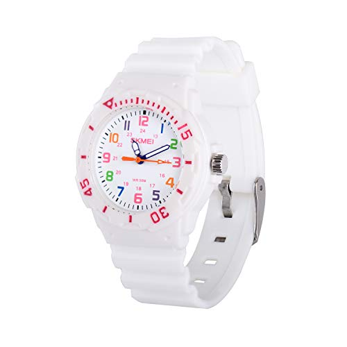 (Wolfteeth Watches for Kids Girls Analog Quartz Watches White 5ATM Waterproof 33mm Case 15mm PU Watchband 310803 )