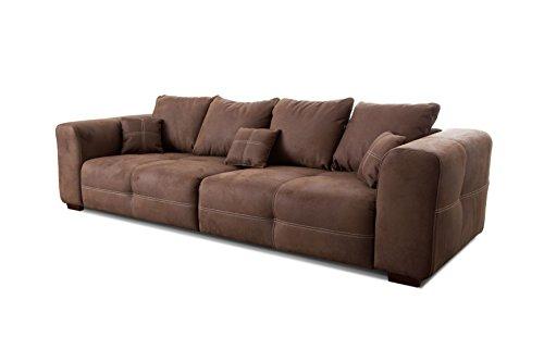 Cavadore-Big-Sofa-Mavericco-XXL-Sofa-im-modernen-Design-Inklusive-Rueckenkissen-und-Zierkissen-287-x-69-x-108-cm-BxHxT-Mikrofaser-Braun