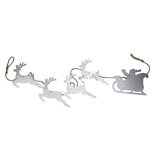 Melrose 5.5' Galvanized Reindeer Leading Santa in Sleigh on Jute Rope Christmas Garland