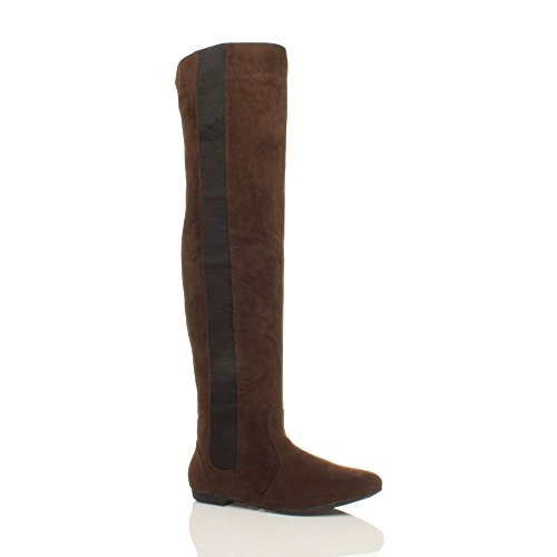 Brown flat elastic stretch Womens high pull boots knee Suede on size the ladies Ajvani over wxOqYRUvv