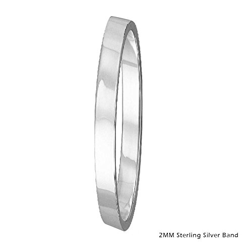 2mm Men & Women Sterling Silver FLAT Wedding Band Ring, High Polish Finish (8)