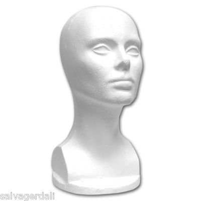 "Lot Of 3 Foam Head 13""T Wig Hat Display"
