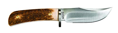 Uncle Henry 2204UH 8in D2 High Carbon Steel Full Tang Fixed Blade Knife with 4in Clip Point Blade and Stag Horn Handle for Outdoor, Hunting and Camping