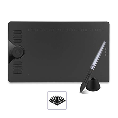 2019 HUION HS610 Drawing Tablet, Graphics Tablet with Battery-Free Stylus, 8192 Levels Pressure Sensitivity, Tilt Function, Touch Ring, 10x6.25inch Digital Art Tablet for Android Windows Mac