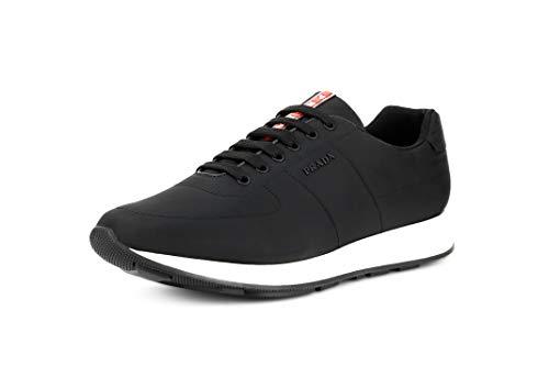 Prada Men's Nylon Piuma Trainer Sneakers, Nero/Bianco (Black/White) 4E3355 (10.5 US / 9.5 ()