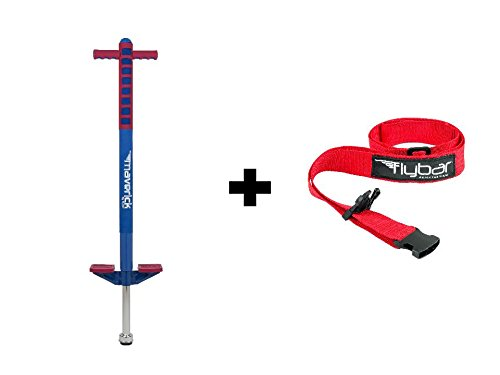 Flybar Foam Maverick Pogo Stick With Quick Clip Pogo Carry Strap (Blue/Red - Red - Foam Maverick