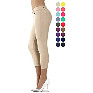 Prolific Health Capri Women's Jean Look Jeggings Tights Slimming Many Colors Spandex Leggings Pants (Small, Camel)