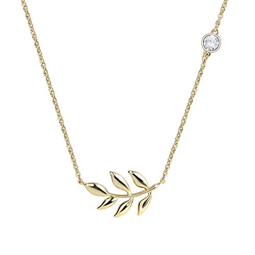 Branch Tree Gold (KISSPAT 14K Gold Olive Leaf Pendant Necklace Olive Tree Branch Leaf Jewelry for Women)