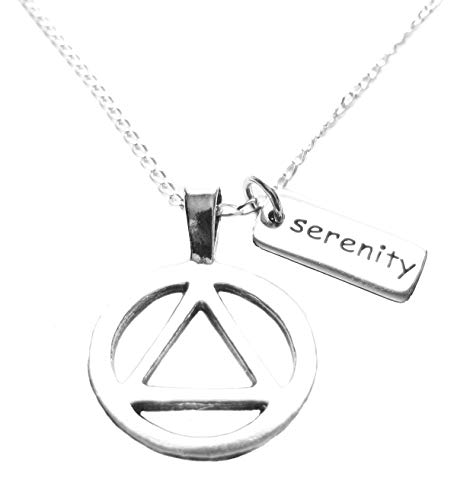 Heart Projects AA 12 Step Anniversary Sterling Silver Gift Alcoholics Anonymous Symbol and Serenity Tag Charm Sterling Silver Necklace 18