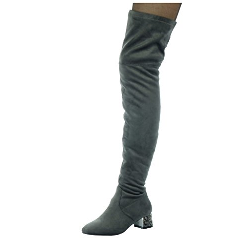 Angkorly - damen Schuhe Oberschenkel-Boot - Oberschenkel-Boot - Flexible - Schmuck Blockabsatz high heel 4.5 CM Grau
