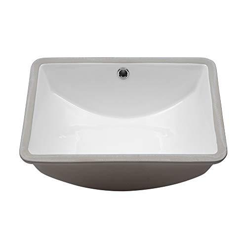 (Lordear 18'' Vessel Sink Modern Pure White Rectangle Undermount Sink Porcelain Ceramic Lavatory Vanity Bathroom Sink (18 Inch))