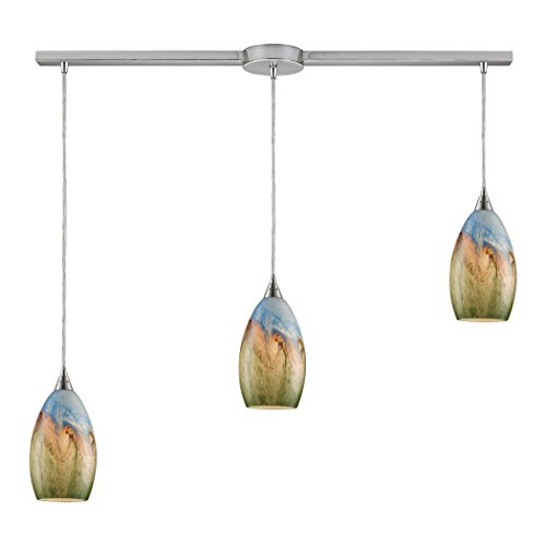 Alumbrada Collection Geologic 3 Light Pendant In Satin Nickel And Multicolor Glass