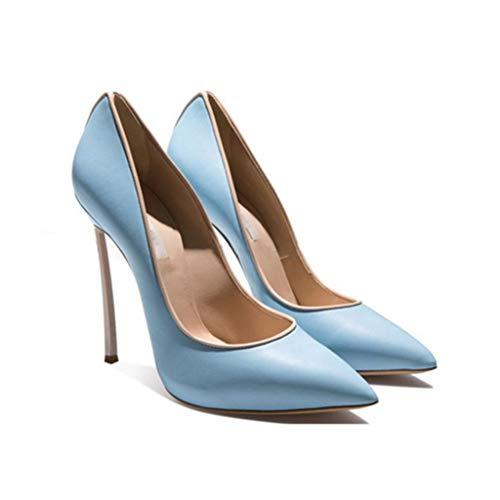 Profilé Fermé Plateforme De Profondes Talon Pointé Soirée Blue Slim Bout Femmes Mercure Chaussures Peu Banquet Chaussures Métal Haut 0XxwP