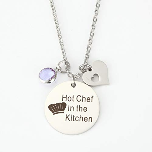 Humorous Christmas Gifts for Women Wife Cooking Gifts for Cook Hot Chef in The Kitchen Pendant Necklace