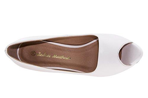 Andres Machado AM5003.Peep-Toes en Soft.Pour Femmes.Petites et Grandes Pointures de la 32/35-42/45. Blanc