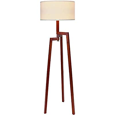 Brightech New Mia LED Tripod Floor Lamp– Modern Design Wood Mid Century Style Lighting for Contemporary Living or Family Rooms- Ambient Light Tall Standing Survey Lamp for Bedroom