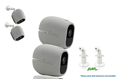 Accessories Kit for Arlo Pro and Pro2 Camera w/ (2pcs Grey) Arlo Pro & Pro2 Skins AND (2pcs) 10cm Arlo Camera Mount White Arlo Netgear Security Wireless Covers Case Outdoors Wall by Sully (Kit Slp Installation)