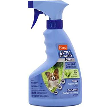 Get through flea and tick season without an itch! Hartz UltraGuard Plus Aloe Flea & Tick Dog Spray kills and repels pesky fleas and ticks for up to 7 days while preventing re-infestation by stopping flea eggs from hatching for 30 days. Th...