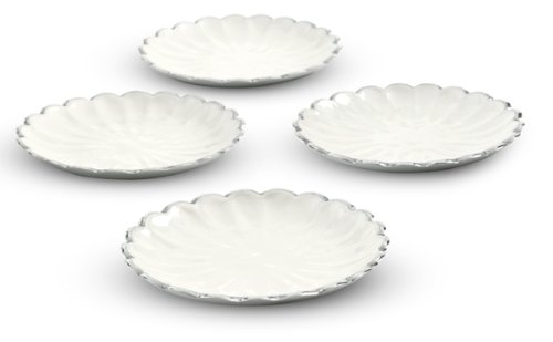 Julia Knight Peony Petite Plates, 6-Inch, Snow, Set of 4, White, (Peony Plate Accent)