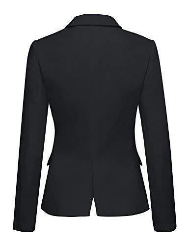 Lookbook Store Women's Black Notched Lapel Pocket Button Work Office Blazer Jacket Suit Size XL