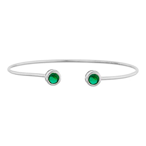 2 Ct Simulated Emerald Round Bezel Bangle Bracelet .925 Sterling Silver