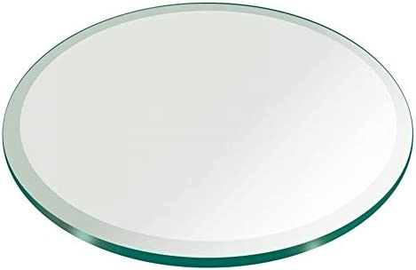 Fab Glass and Mirror 48 Inch Round Glass Table Top, 48 , Clear