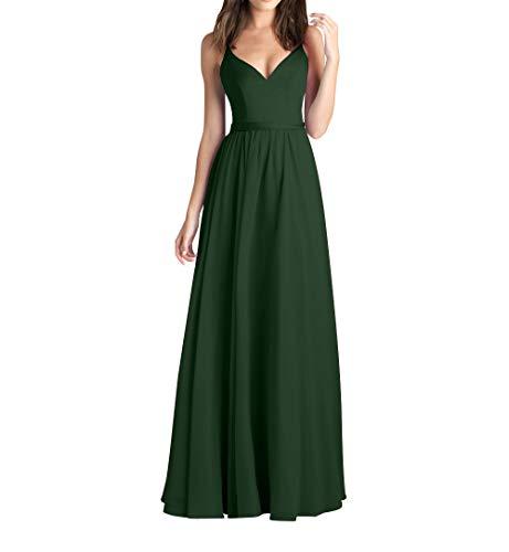 Brautjungfernkleider Braut Promkleider Elegant Linie Festlichkleider A mia La Chiffon Lang Abendkleider Dunkel Partykleider Gruen RqzF5Zw