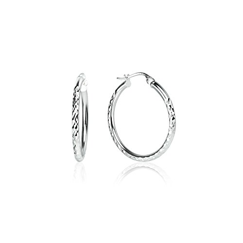 Large Textured Hoops Silver - LOVVE Sterling Silver High Polished Round Diamond Textured Click-Top Hoop Earrings, 2x30mm