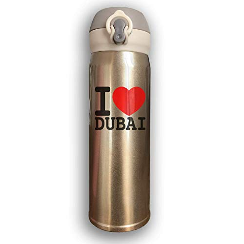 Dicobrune Double Wall Vacuum Insulated Stainless Steel Sports Water Bottle,I Love Dubai Stainless Steel Leak Proof Thermos 17 Oz ()