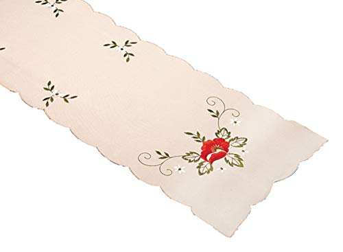 Embroidered Poppy Table Runner Dining Kitchen Linen Floral Tableware Tablecloth Cover (13