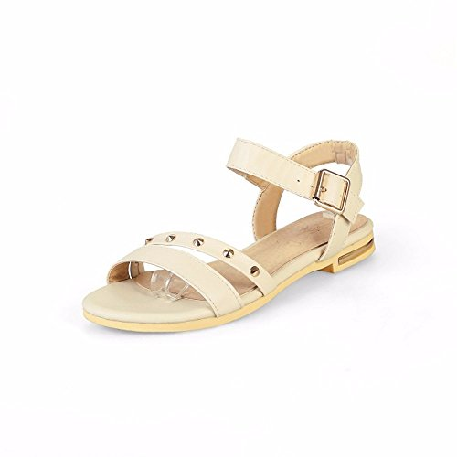 sandals flat Strap Closed and Heels Pump Shoes RFF large size shoes shoes Women's Beige European Toe Ankle casual Women's buckles American qO7qwp