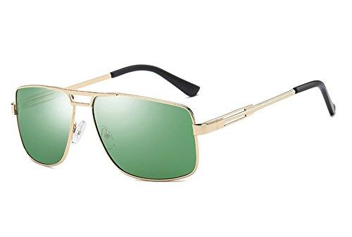 Gafas para Sunglasses gold polarizadas gris hombres sol green de sol macho TL Guía hombres gafas dark cuadrado bastidor Gafas negro gris de xfp4qwA5