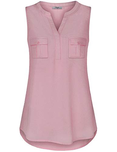 Cestyle Chiffon Tank Tops for Women, Women's Henley V Neck Sleeveless Trapeze Stylish Blouses for Work 2019 Cute Pocket Shirttail Summer Fashion Clothes Pink Large
