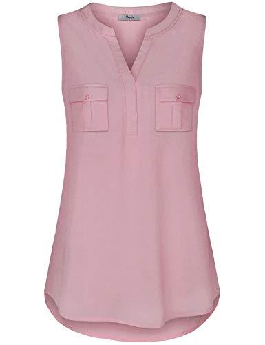 - Cestyle Work Blouses for Women, Women Petite Summer V Neck Office Chiffon Tank Tops Sleeveless Tunic Dressy Flowy Hem Blouse Shirt for Leggings Pink Medium