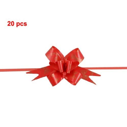 Party Diy Decorations - Bowtie Print Red Wedding Decoration Gift Wrap Pull Bow Ribbons 20 Pcs - Emoji Yard Flower Tie Hawaii Supplies For Banner Christmas Garland -
