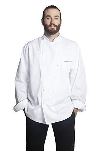 Bragard Exclusive Design Men's perigord Chef Jacket - White With Gray Piping Cotton - Size 40 by Bragard (Image #2)